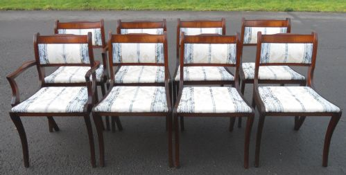 Set of Eight Upholstered Back Mahogany Framed Regency Style Dining Chairs